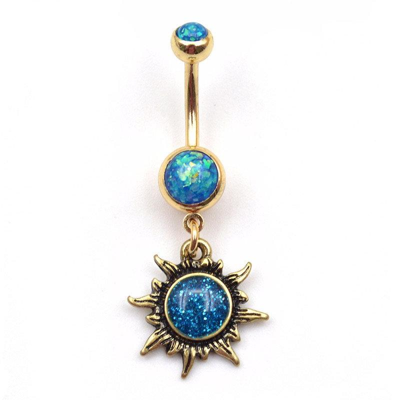 Flame Opal Sun Gold Belly Button RIng MyBodiArt