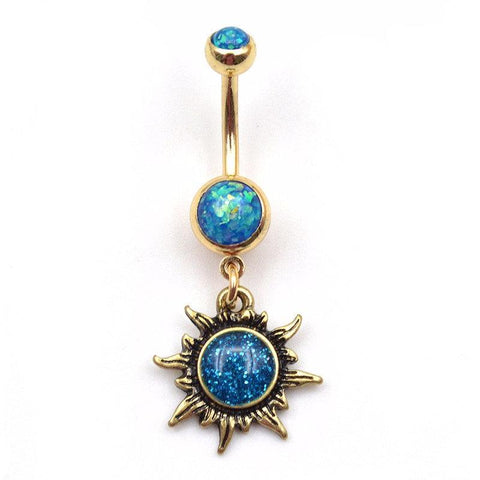 Opal Belly Button Rings - Sun Navel Piercing - MyBodiArt.com