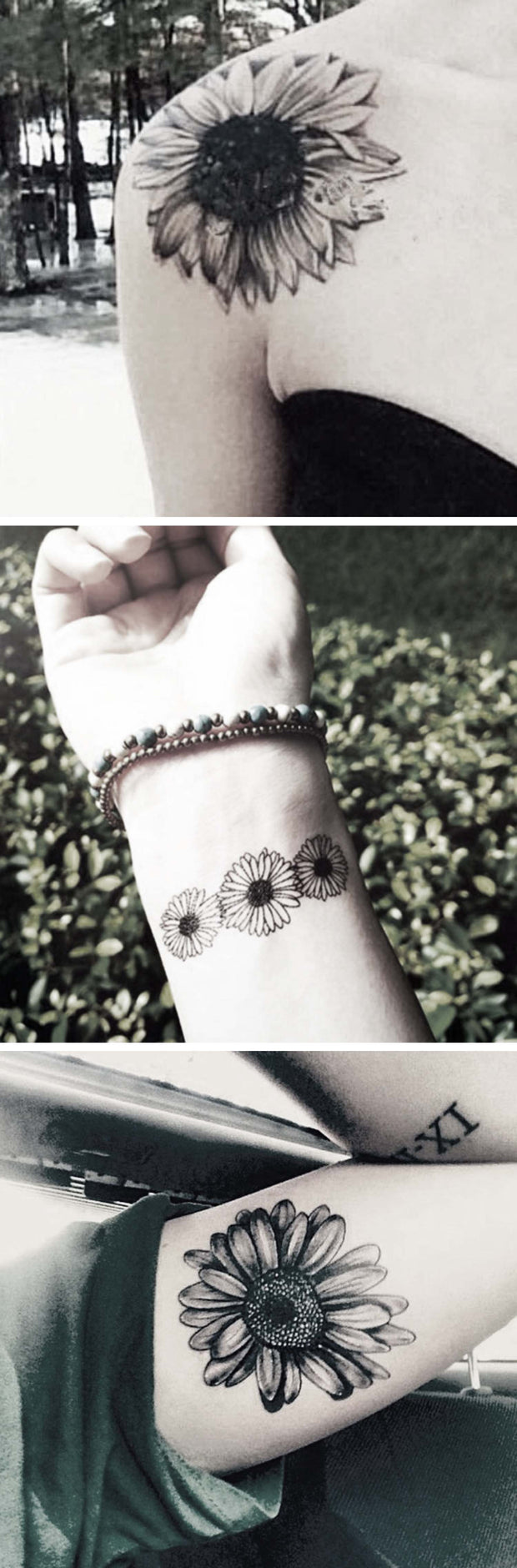 Flower Shoulder Tattoo Ideas - Floral Arm Sleeve Bicep Tatouage - Wrist Sunflower ideas del tatuaje - www.MyBodiArt.com