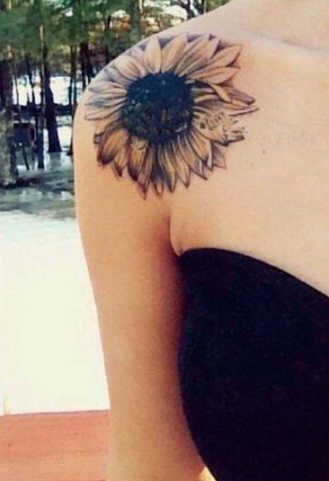 Sunflower Shoulder Temporary Tattoo - MyBodiArt.com