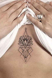 Tribal Lotus Sternum Tattoo Ideas for Women Boho Geometric Linework Black Triangle Diamond Tat - www.MyBodiArt.com #tattoos