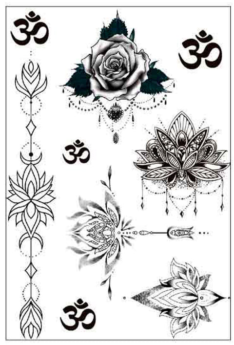 Om Aum Floral Rose Flower Unalome Lotus Temporary Sternum Tattoo Set at MyBodiArt.com