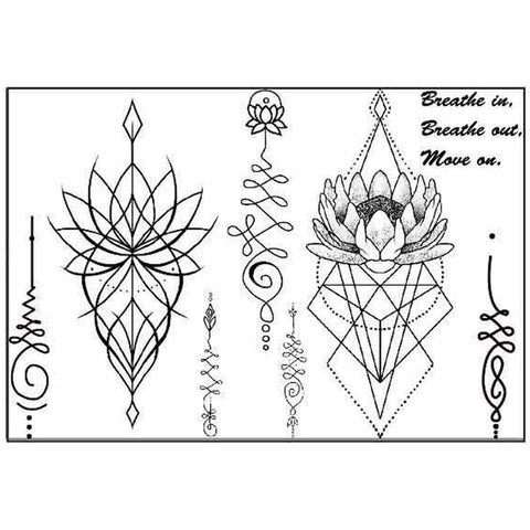 Small Unalome Temporary Sternum Tattoo Set and MyBodiArt.com
