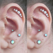 Cute 5 Opal Multiple Ear Piercing Jewelry Ideas for Women for Cartilage Helix Earring Stud - www.MyBodiArt.com