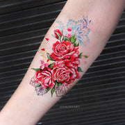Unique Watercolor Rose Forearm Temporary Tattoo Ideas for Women -  Ideas de tatuaje de antebrazo rosa - www.MyBodiArt.com