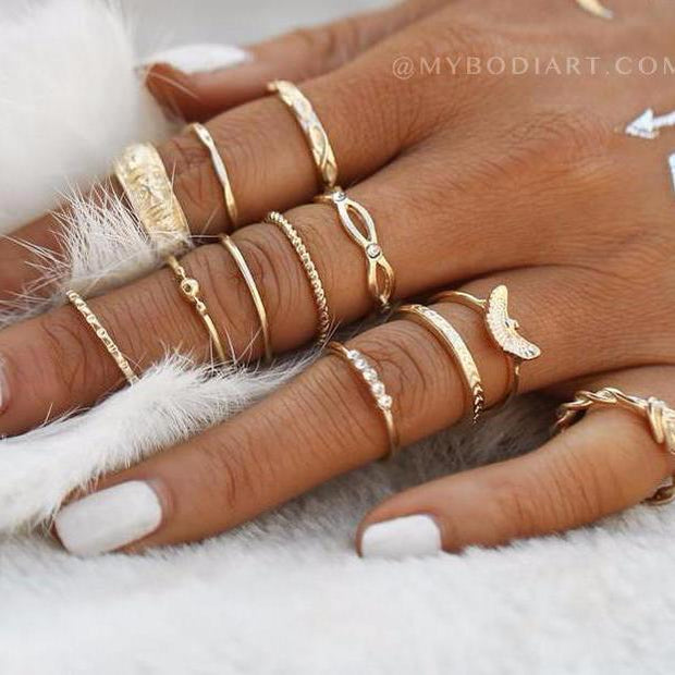 Tatianna Cute Boho Fashion Stackable Ring Set 12pcs