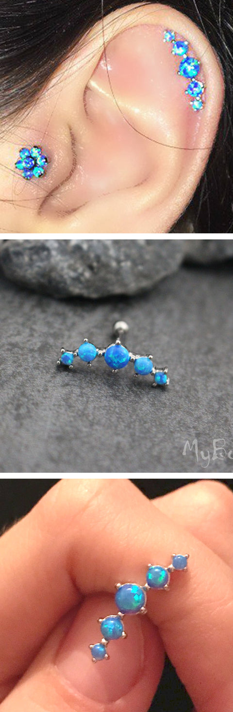 Unique Cartilage Ear Piercing Ideas - Large Opal Blue Helix Earring Ring Stud Tragus Floral Flower - www.MyBodiArt.com