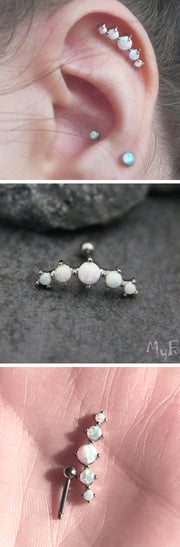 Cartilage Ear Piercing Ideas Jewelry - 5 Opal Helix Earring Stud - MyBodiArt.com