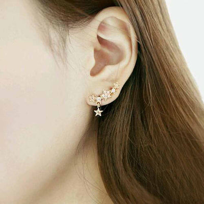 Cute Ear Piercing Ideas - Celestia Star Gold Ear Climber Earrings - MyBodiArt.com