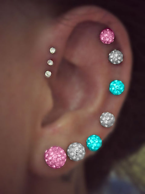 Shamballa Crystal Ball Ear Piercings at MyBodiArt