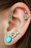 Unique Multiple Ear Piercing Ideas with Turquoise Stone Cartilage Piercing, Tragus Earring, Helix Stud in Silver - Internally Threaded - Ear Piercing Jewelry at MyBodiArt.com
