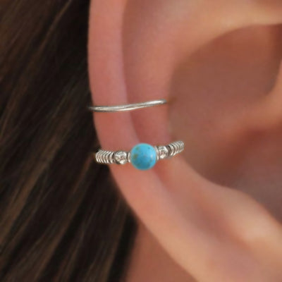 Cute Ear Piercing Ideas - Turquoise Silver 16G Conch Earring Ring at MyBodiArt.com
