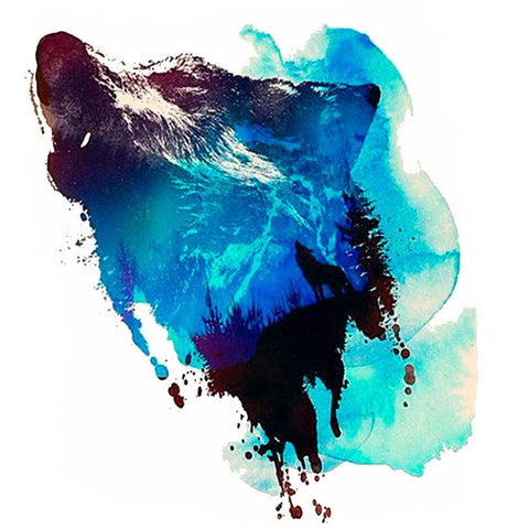 Watercolor Howling Wolf Temporary Tattoo - MyBodiArt.com