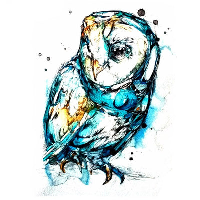 Watercolor Owl Temporary Tattoo - MyBodiArt.com