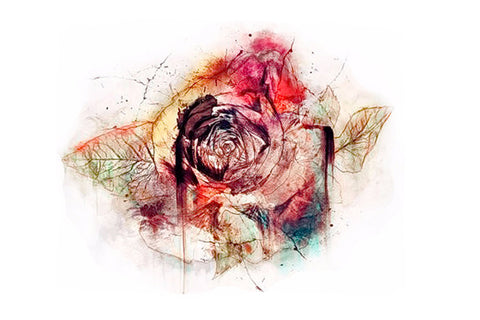 Watercolor Vintage Rose Temporary Tattoo - MyBodiArt.com