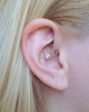 Simple Ear Piercing Ideas - Rook Piercing Jewelry - Daith Piercing Jewelry -  Flower Swarovski Crystal Captive Bead Ring 16G G23 Titanium - MyBodiArt.com