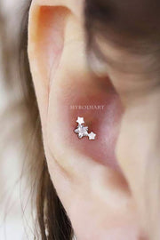 Cute Triple Star Conch Ear Piercing Jewelry Ideas Earring Stud 16G - www.MyBodiArt.com