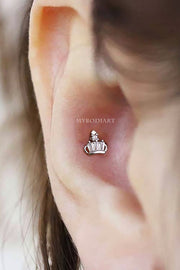 Cute Crown Conch Ear Piercing Jewelry Ideas Earring Stud 16G for Women - www.MyBodiArt.com