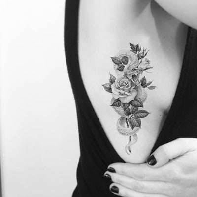 Rose Snack Rib Tattoo Ideas for Women - www.MyBodiArt.com #tattoos