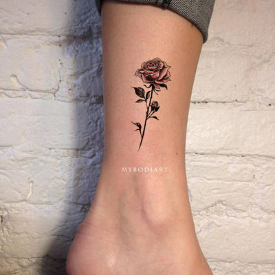 Vintage Watercolor Rose Floral Flower Ankle Tattoo Ideas for Women -  ideas de tatuaje de rosa en el tobillo - www.MyBodiArt.com