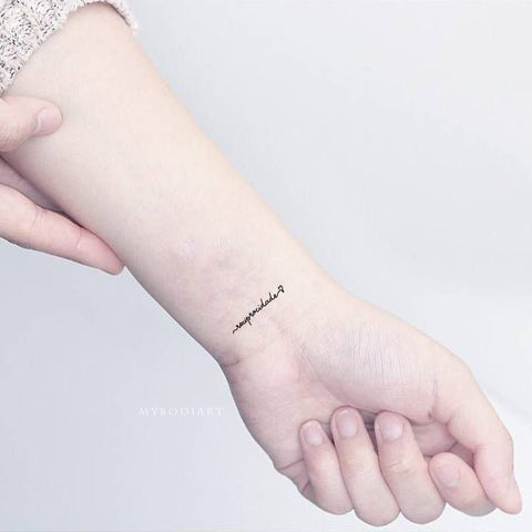 Quote Script Heart Wrist Tattoo Ideas for Women - www.MyBodiArt.com #tattoos