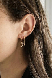 Double Ear Lobe Ear Piercing Jewelry Ideas - Cute Moon & Star Huggie Hoop Earrings - www.MyBodiArt.com #earrings