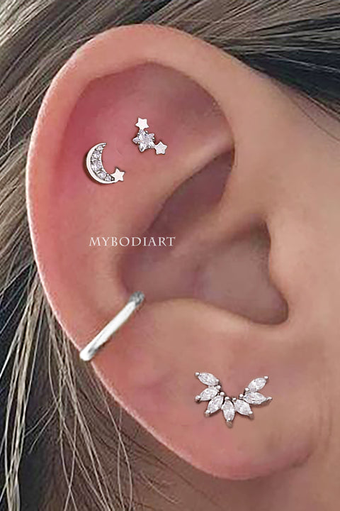 Constellation Moon Star Cartilage Helix Ear Piercing Jewelry Ideas for Women -  ideas de perforación del oído - www.MyBodiArt.com