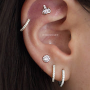 Unique Crown Cartilage Helix Ear Piercing Jewelry Ideas Earring Stud 16G - www.MyBodiArt.com