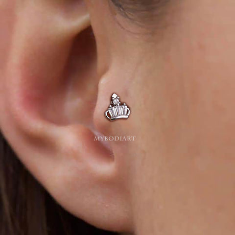 Silver Pretty Small Crown Tragus Ear Piercing Jewelry Ideas for Women for Teen Girls - www.MyBodiArt.com