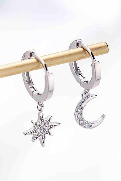Deimos Popular Star Moon Hoop Huggie Earrings
