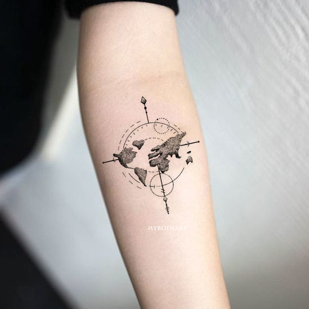 Cute Trending Map Arrow Wanderlust Forearm Tattoo Ideas for Women -  Flecha mapa atrás tatuaje ideas para mujeres - www.MyBodiArt.com