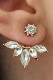 Cute Crystal Lotus Ear Jacket Earring for Women Fashion Jewelry - www.MyBodiArt.com #earrings