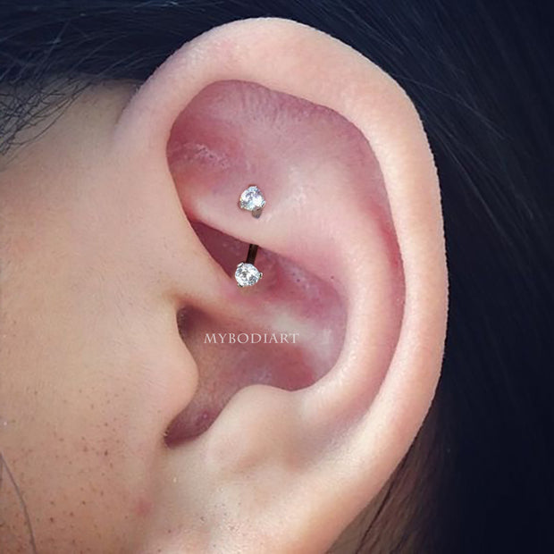 Cute Rook Ear Piercing Jewelry Ideas for Women -  ideas de joyería de piercing de oreja de torre para mujeres - www.MyBodiArt.com