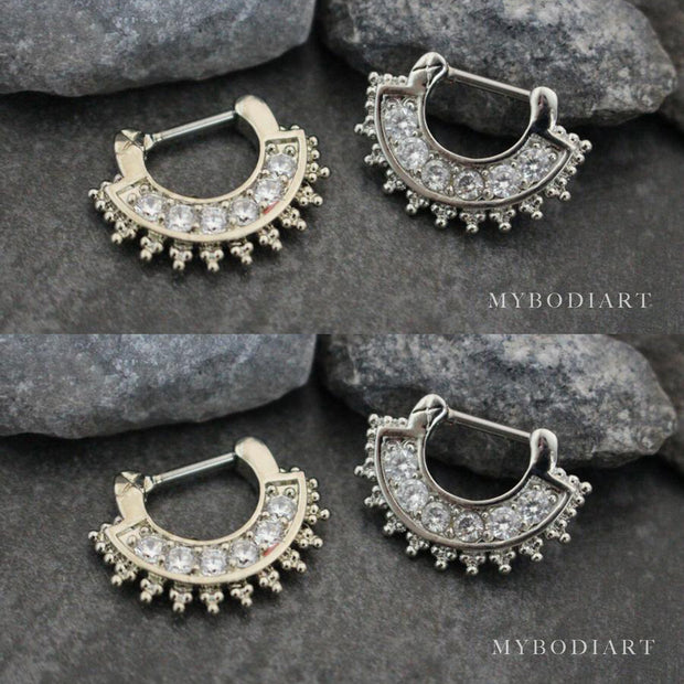Crystal Septum Clicker Piercing Jewelry Ring 16G for Women - www.MyBodiArt.com