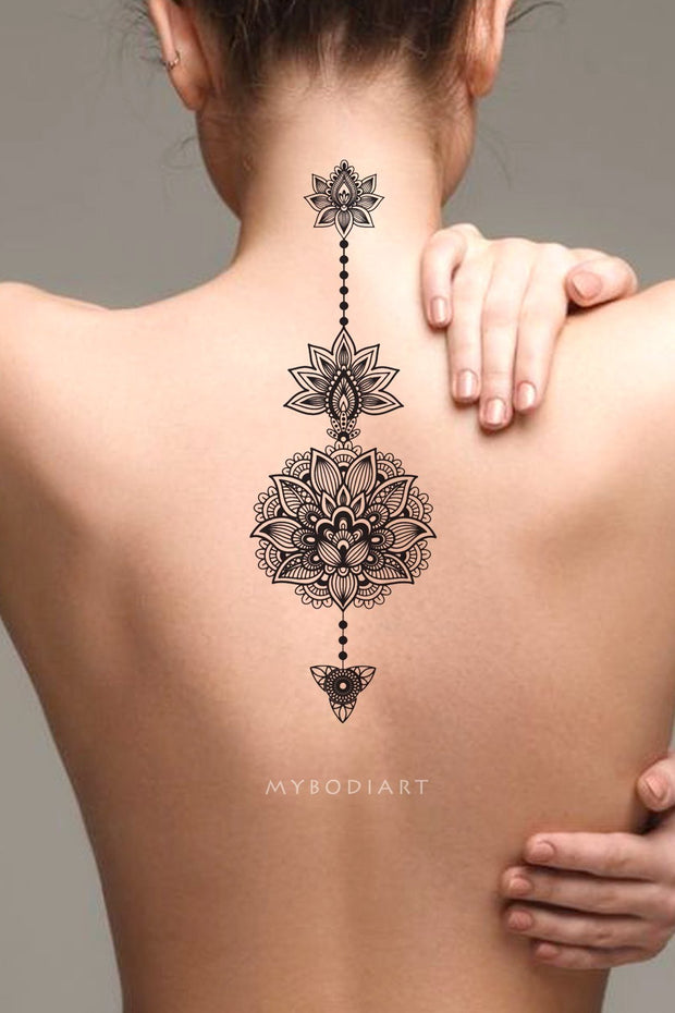 Tribal Boho Black Lotus Mandala Spine Back Tattoo Ideas for Women -  Ideas de tatuajes para mujeres - www.MyBodiArt.com