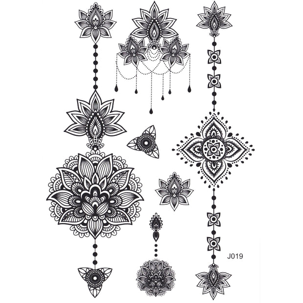 Tribal Boho Mandala Lotus Temporary Tattoo Sheets - www.MyBodiArt.com