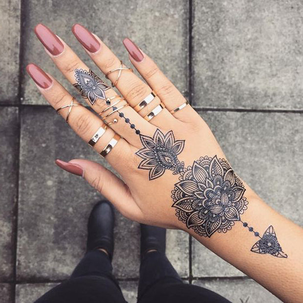 Tribal Lotus Mandala Hand Tattoo Ideas for Teens at MyBodiArt.com Black Henna Floral Flower Tat