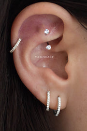 Cute Rook Ear Piercing Jewelry Ideas for Women 16G Crystal Curved Barbell Earring - www.MyBodiArt.com
