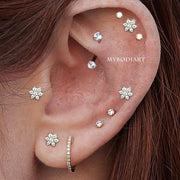 Multiple Cute Ear Piercing Placement Ideas for Women Crystal Rook Earring Curved Barbell 16G -  linda joyería piercing para las orejas para mujeres - www.MyBodiArt.com