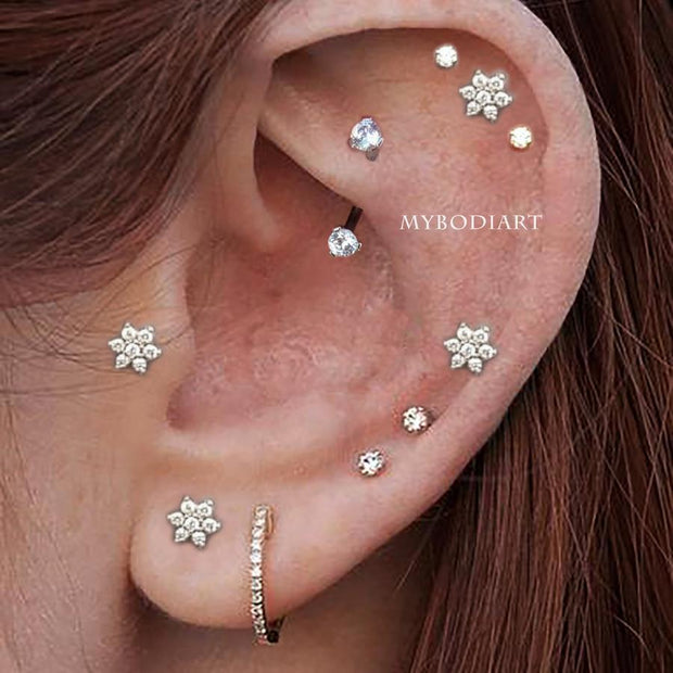 Cute Multiple Cartilage Helix Rook Curved Barbell Earring Ear Piercing Jewelry Ideas for Women -  idées de bijoux piercing oreille - www.MyBodiArt.com #earrings
