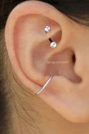 Cute Simple Rook Ear Piercing Jewelry Ideas for Women - Crystal Curved Barbell 16G - www.MyBodiArt.com