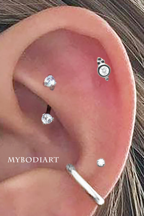 Simple Tribal Boho Multiple Ear Piercing Jewelry Ideas for Women in Silver - www.MyBodiArt.com