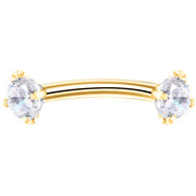 Alex Swarovski Crystal Curved 16G Barbell