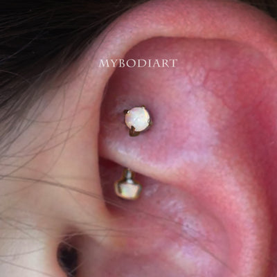 Simple Opal Rook Ear Piercing Jewelry Ideas Curved Barbell 16G - www.MyBodiArt.com