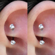 Simple Dainty Crystal Rook Ear Piercing Ideas for Women 16G - www.MyBodiArt