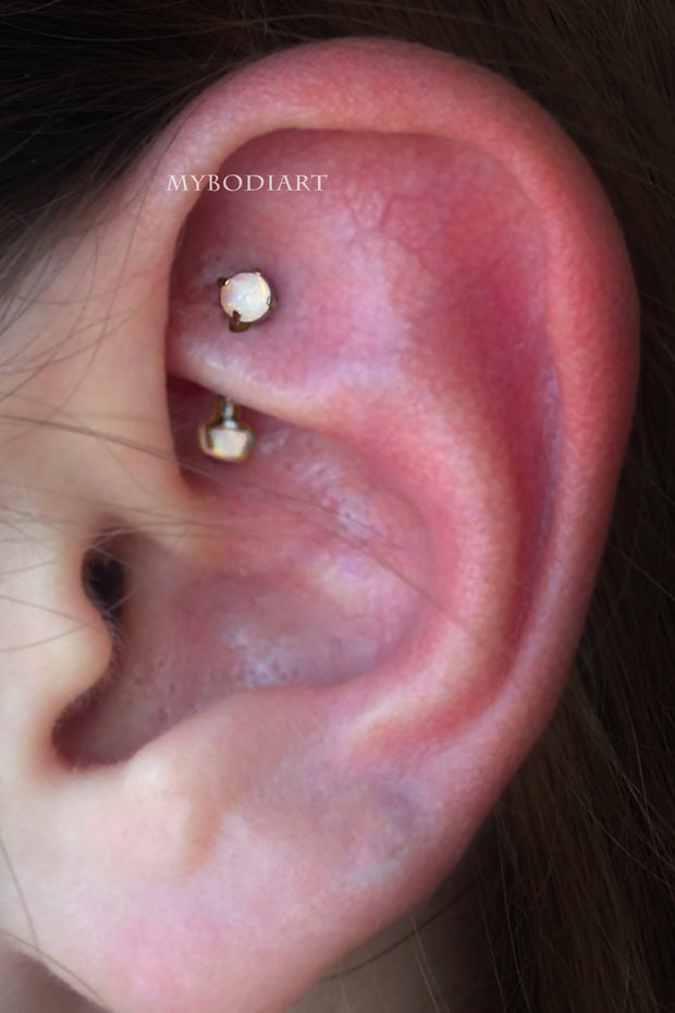 Simple Opal Rook Ear Piercing Jewelry Ideas - www.MyBodiArt.com