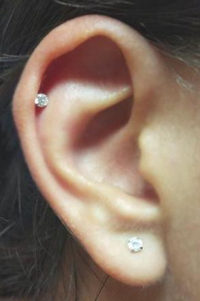 Classy Minimalistic Ear Piercing Ideas - Simple Crystal Cartilage Helix Earring Stud - Lobe Jewelry - MyBodiArt.com