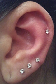classy multiple ear piercing ideas cartilage earring stud crystal triple jewelry - www.mybodiart.com
