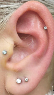 Cute Multiple Ear Piercings Ideas - Simple Cartilage Helix Swarovski Earring Stud 16G Jewelry - www.MyBodiArt.com