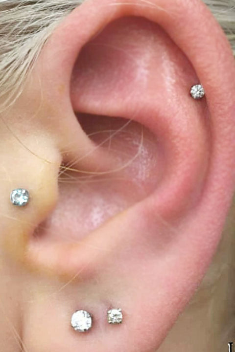 Cute Simple Ear Piercing Ideas for Women - Swarovski Crystal Cartilage Helix Tragus Studs Jewelry 16G -  lindas ideas para perforar orejas para mujeres - www.MyBodiArt.com